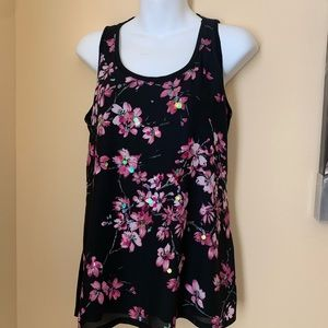 EXPRESS   Black with pink floral tank top